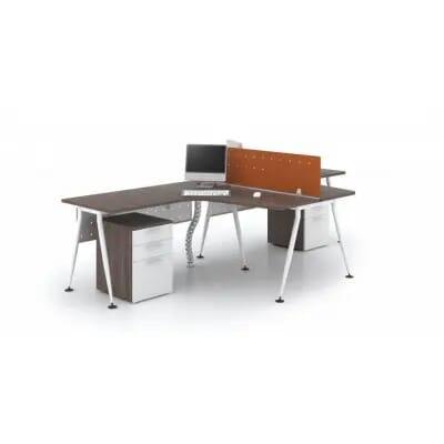 Cụm bàn làm việc chân sắt DC2015 | Modul bàn làm việc 2 vị trí