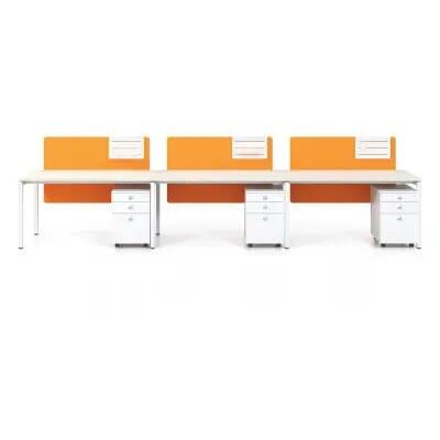 Modul bàn làm việc chân sắt DC3011 | Cụm bàn cho 3 vị trí làm việc