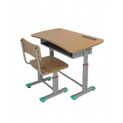 Bộ bàn ghế học sinh chân sắt mặt gỗ BHS03-V(X,H)