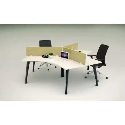 Cụm bàn làm việc lục giác | Modul bàn chân sắt 3 vị trí ngồi làm việc